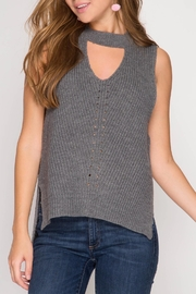 She + Sky Sleeveless Keyhole Sweater - Product Mini Image