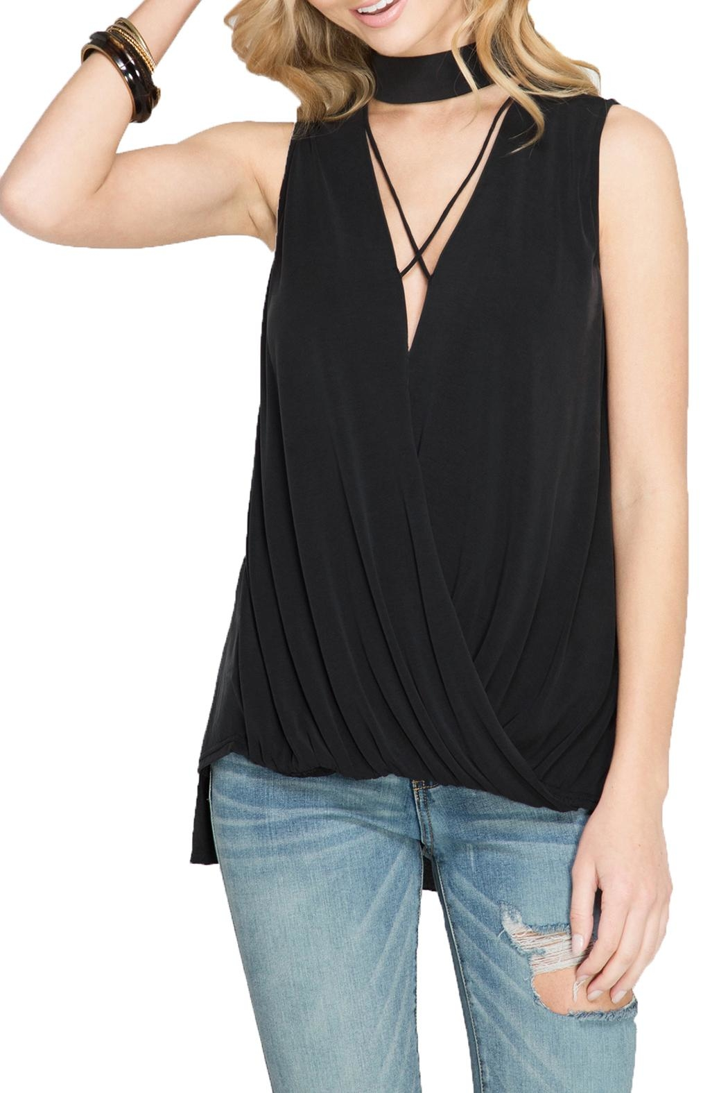 She + Sky Sleeveless Knot Tank - Front Cropped Image