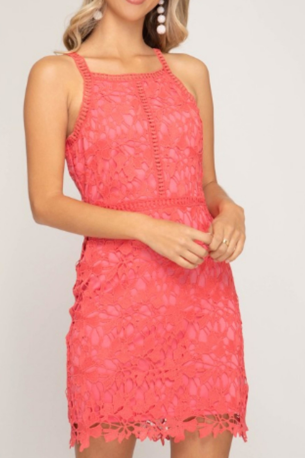 She + Sky Sleeveless Lace Dress - Main Image
