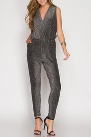 She + Sky Sleeveless Metallic Jumpsuit - Product Mini Image