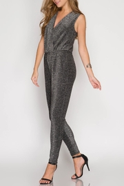 She + Sky Sleeveless Metallic Jumpsuit - Side cropped