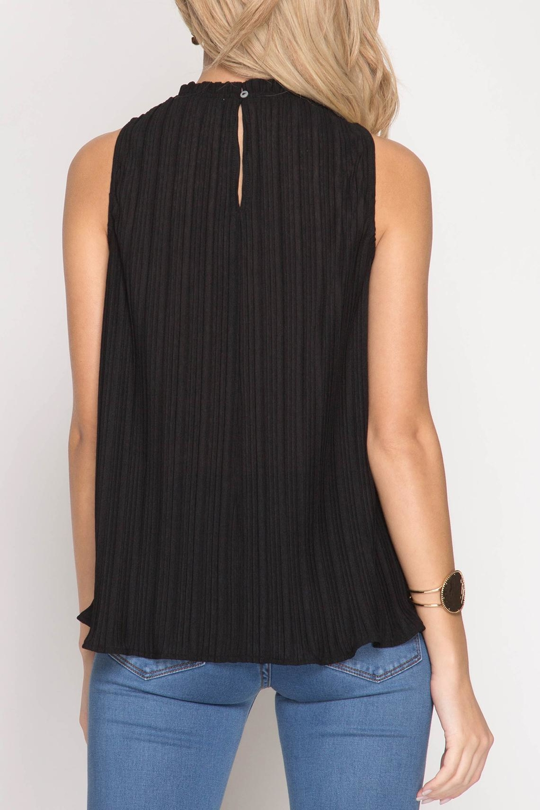 She + Sky Sleeveless Pleated Top - Front Full Image