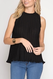 She + Sky Sleeveless Pleated Top - Front cropped