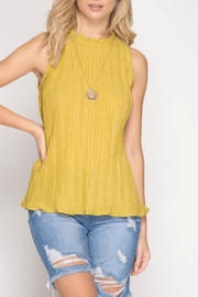 She + Sky Sleeveless Pleated Top - Product Mini Image