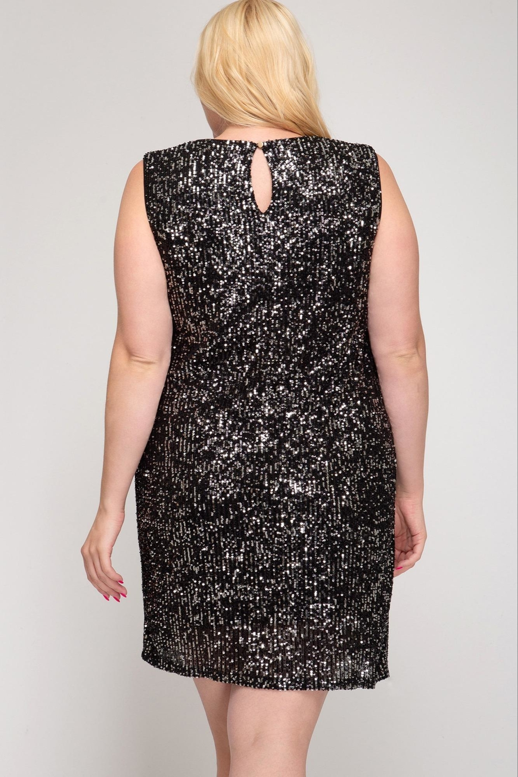 She + Sky Sleeveless Sequin Dress - Front Full Image