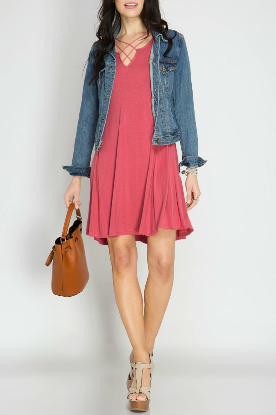 She + Sky Sleeveless Swing Dress - Front Cropped Image