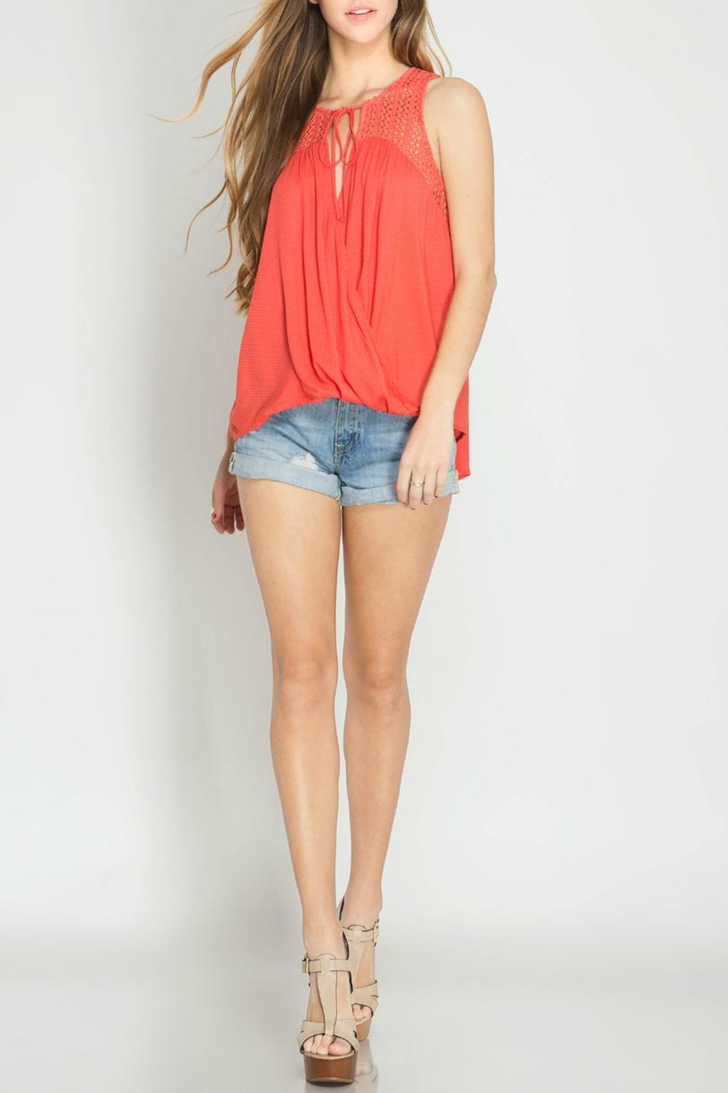She + Sky Sleeveless Textured Top - Back Cropped Image