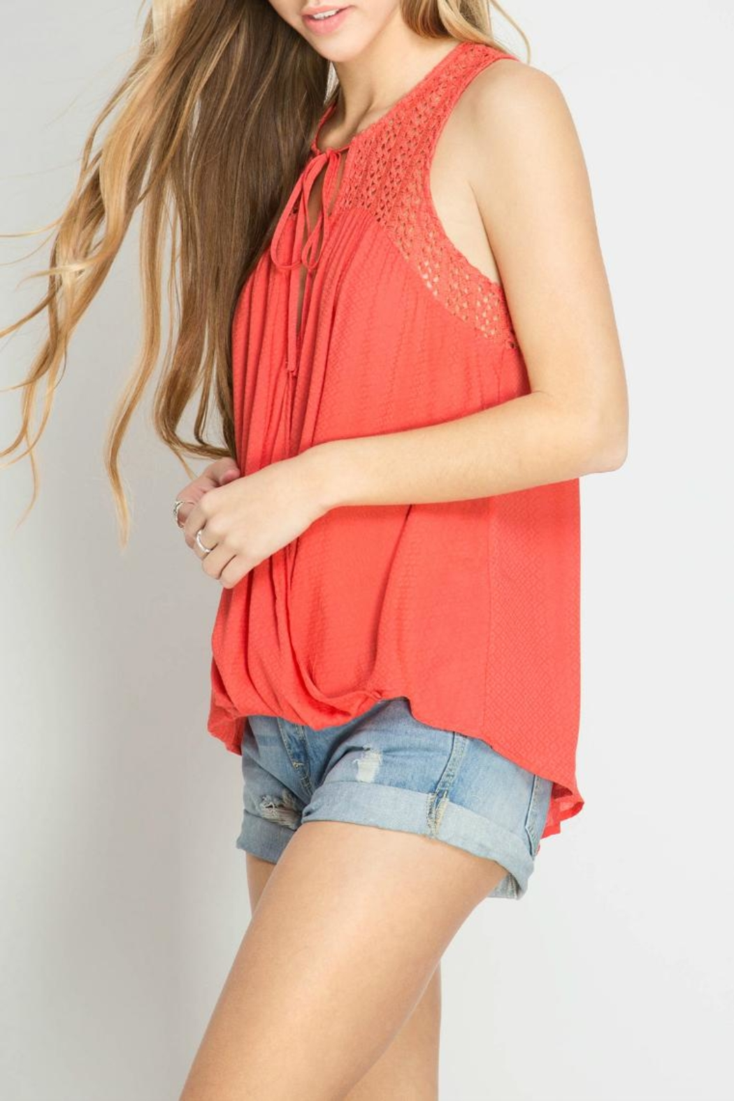 She + Sky Sleeveless Textured Top - Front Full Image