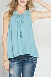 She + Sky Sleeveless Tie Top - Product Mini Image