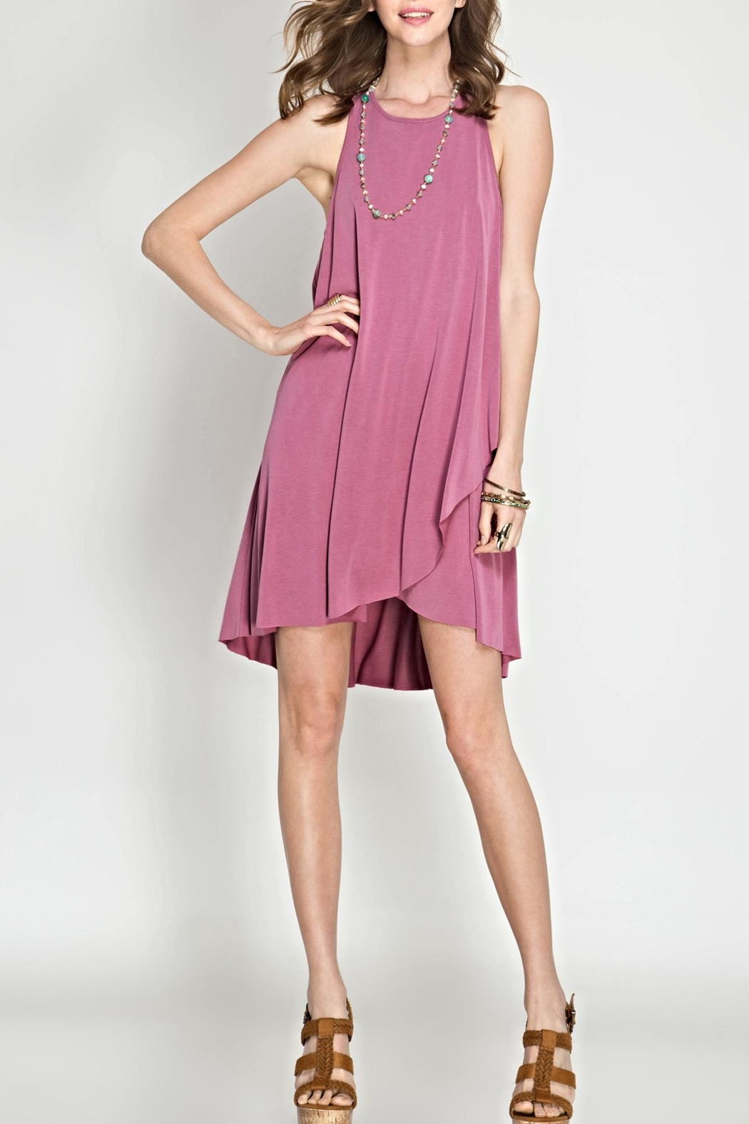 She + Sky Pink Sleeveless Shift Dress - Front Cropped Image