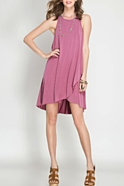 She + Sky Pink Sleeveless Shift Dress - Front cropped