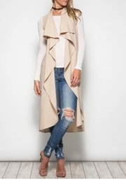 She + Sky Sleeveless Trench Coat - Front cropped