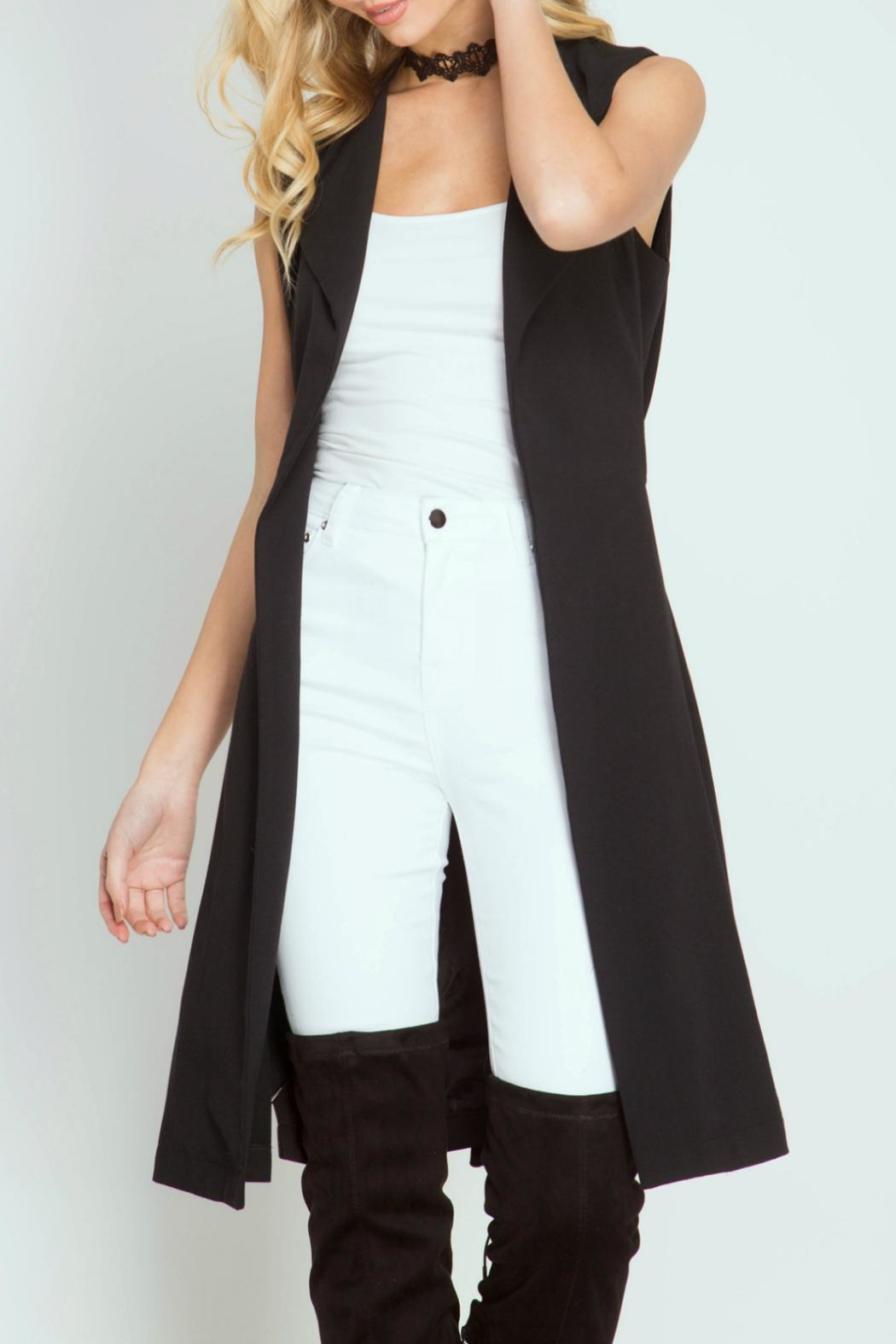 She + Sky Sleeveless Trench Coat - Front Cropped Image