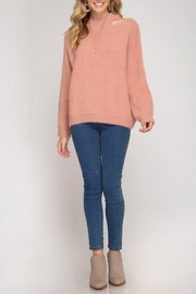 She + Sky Slit Neck Sweater - Product Mini Image
