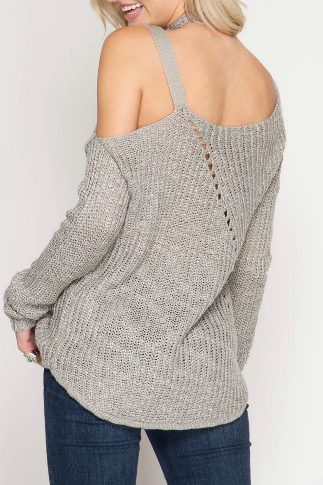 She + Sky Slub Knit Sweater - Front Full Image
