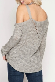 She + Sky Slub Knit Sweater - Front full body