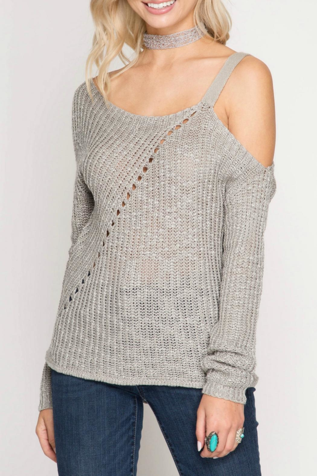 She + Sky Slub Knit Sweater - Main Image