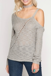 She + Sky Slub Knit Sweater - Front cropped