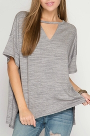 She + Sky Slub Knit Top - Front cropped