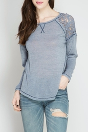 She + Sky Slub Lace Tee - Product Mini Image