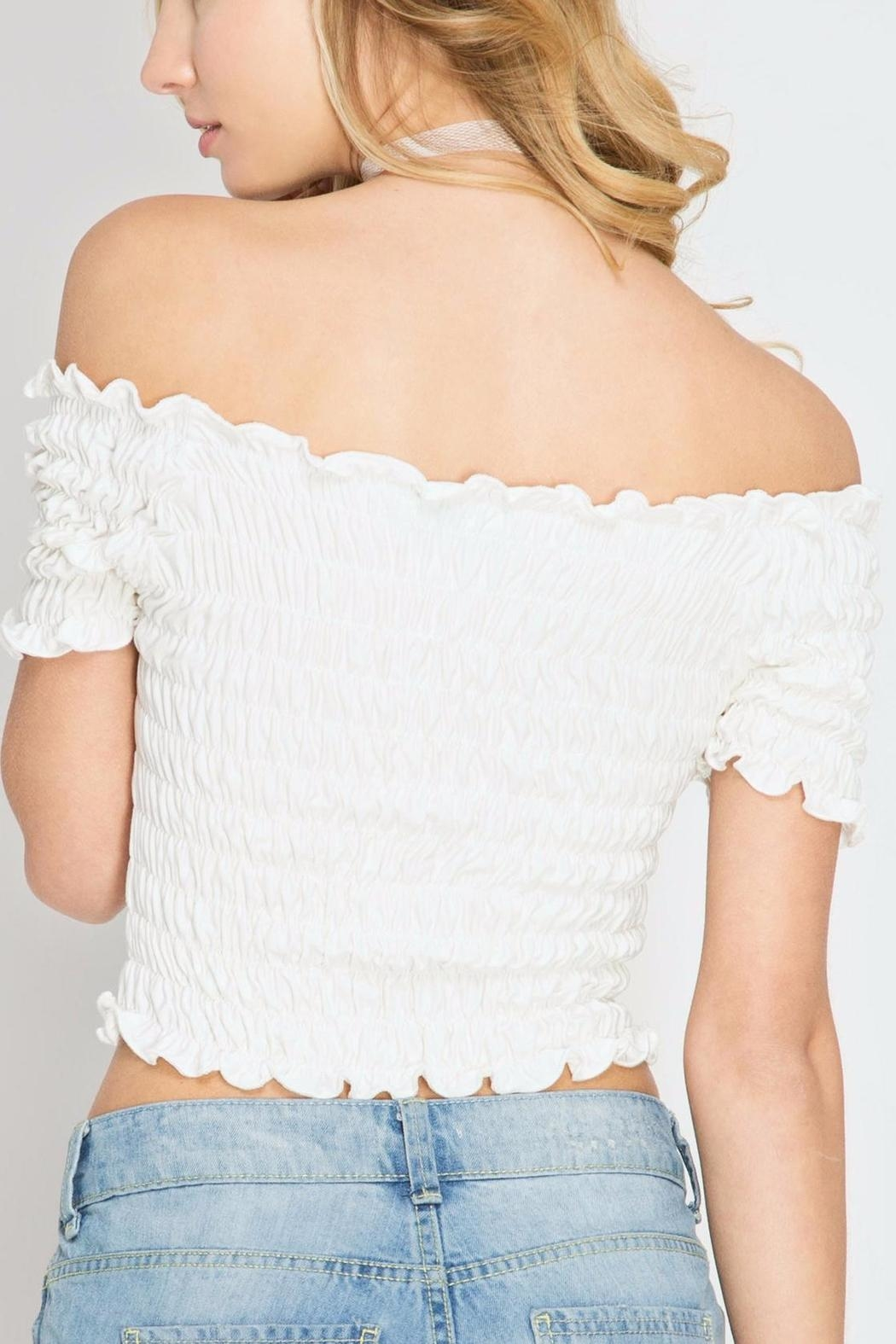 65aa976459df87 She + Sky Smocked Crop Top from Tampa by The Trunk Stylists — Shoptiques