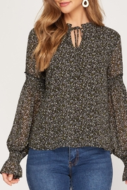 She + Sky Smocked Sleeve Blouse - Front cropped