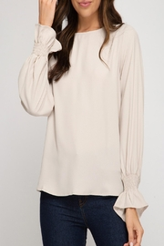 She + Sky Smocked Sleeve Top - Front cropped
