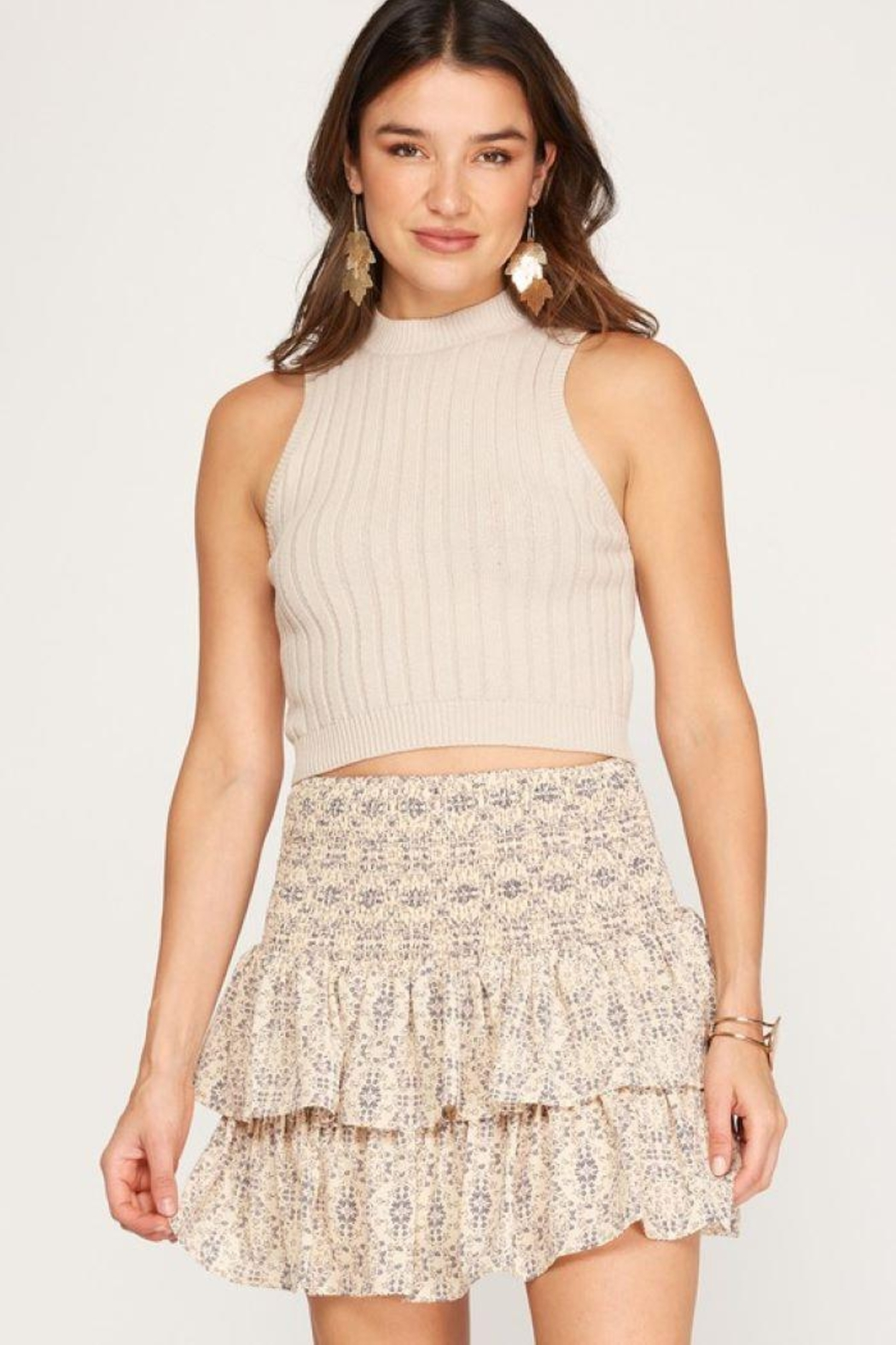 She + Sky Smocked Waistband Tiered Skirt - Front Cropped Image