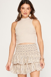 She + Sky Smocked Waistband Tiered Skirt - Front cropped