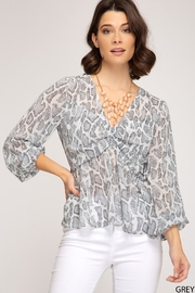 She + Sky Snake Print Blouse - Product Mini Image