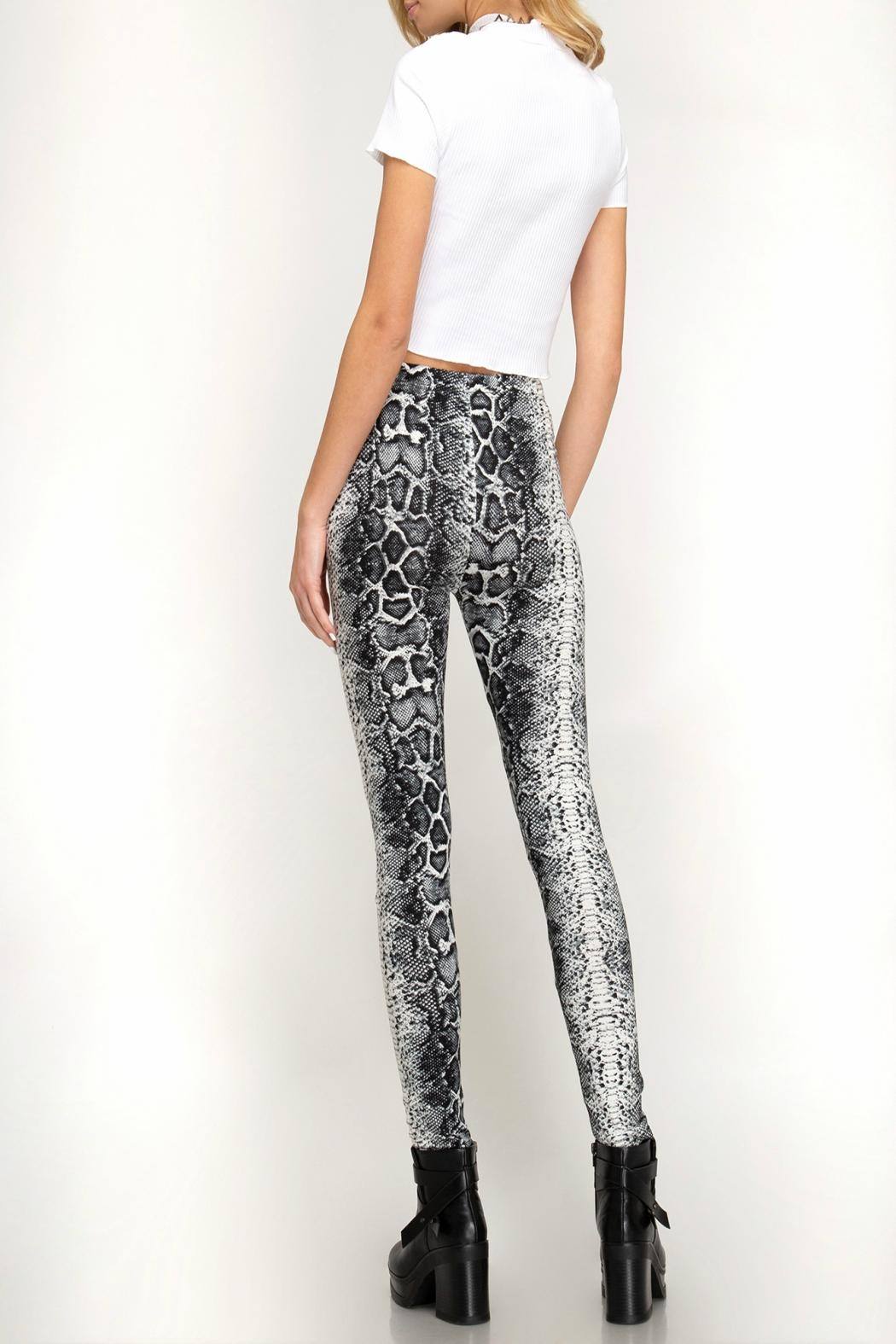 She + Sky Snake-Print High-Waisted Leggings - Front Full Image