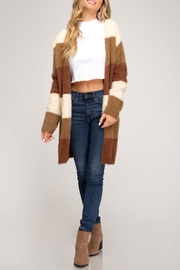 She + Sky Soft Fuzzy Cardigan - Front cropped