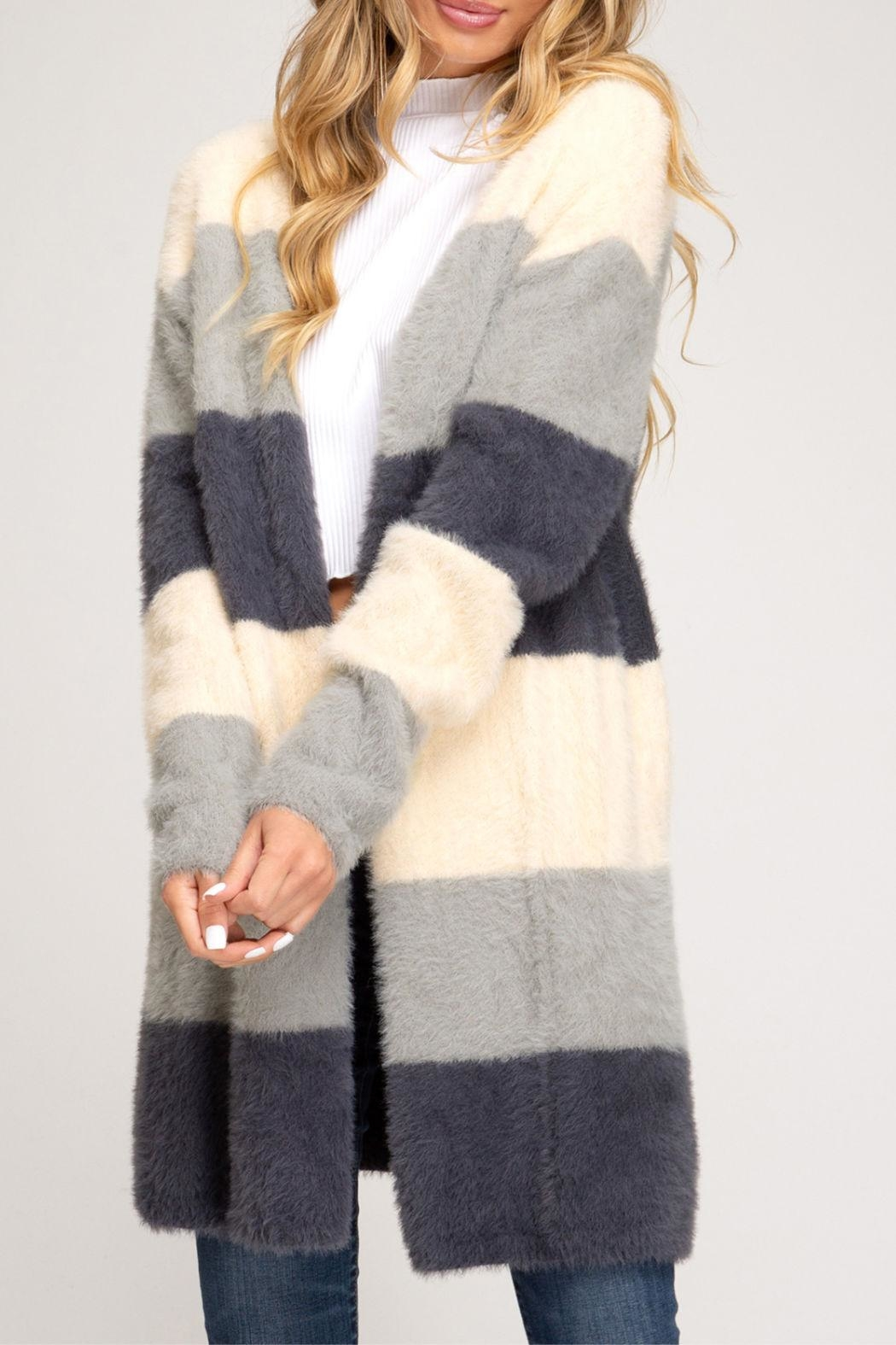 She + Sky Soft Fuzzy Cardigan - Front Cropped Image