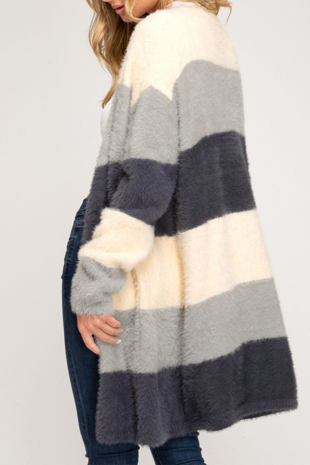 She + Sky Soft Fuzzy Cardigan - Front Full Image