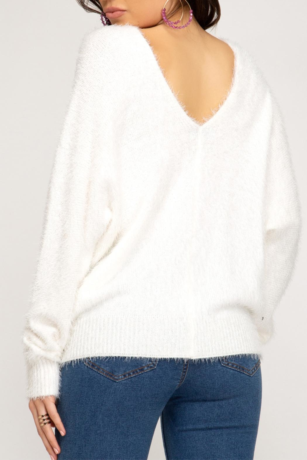 She + Sky Soft Fuzzy Sweater - Front Full Image