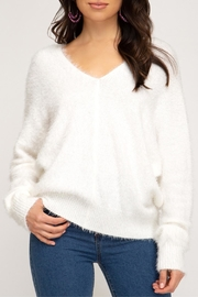 She + Sky Soft Fuzzy Sweater - Front cropped