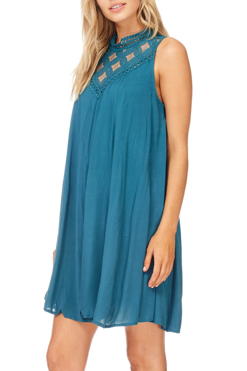 She + Sky Teal Lace Dress - Side Cropped Image