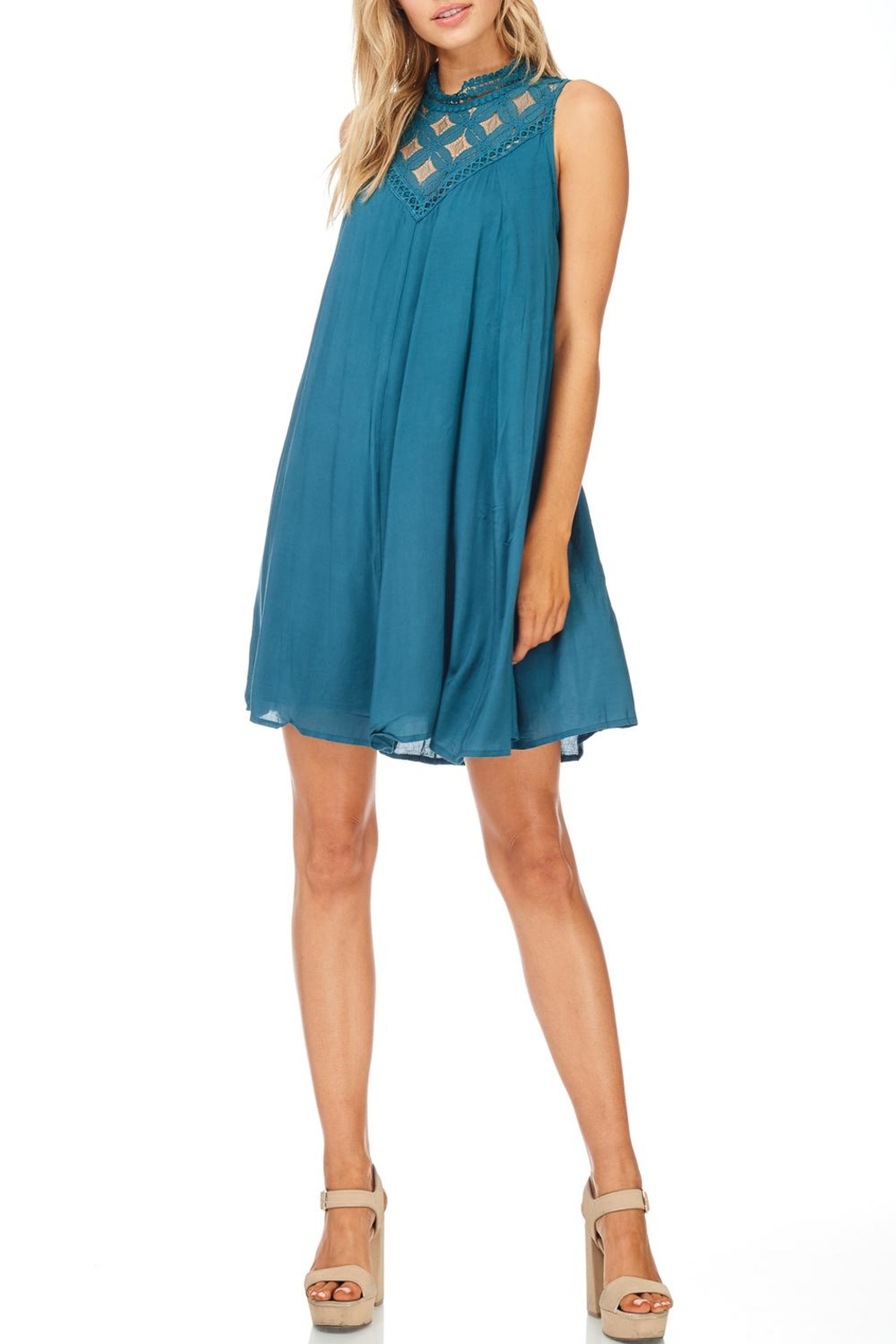 She + Sky Teal Lace Dress - Front Cropped Image