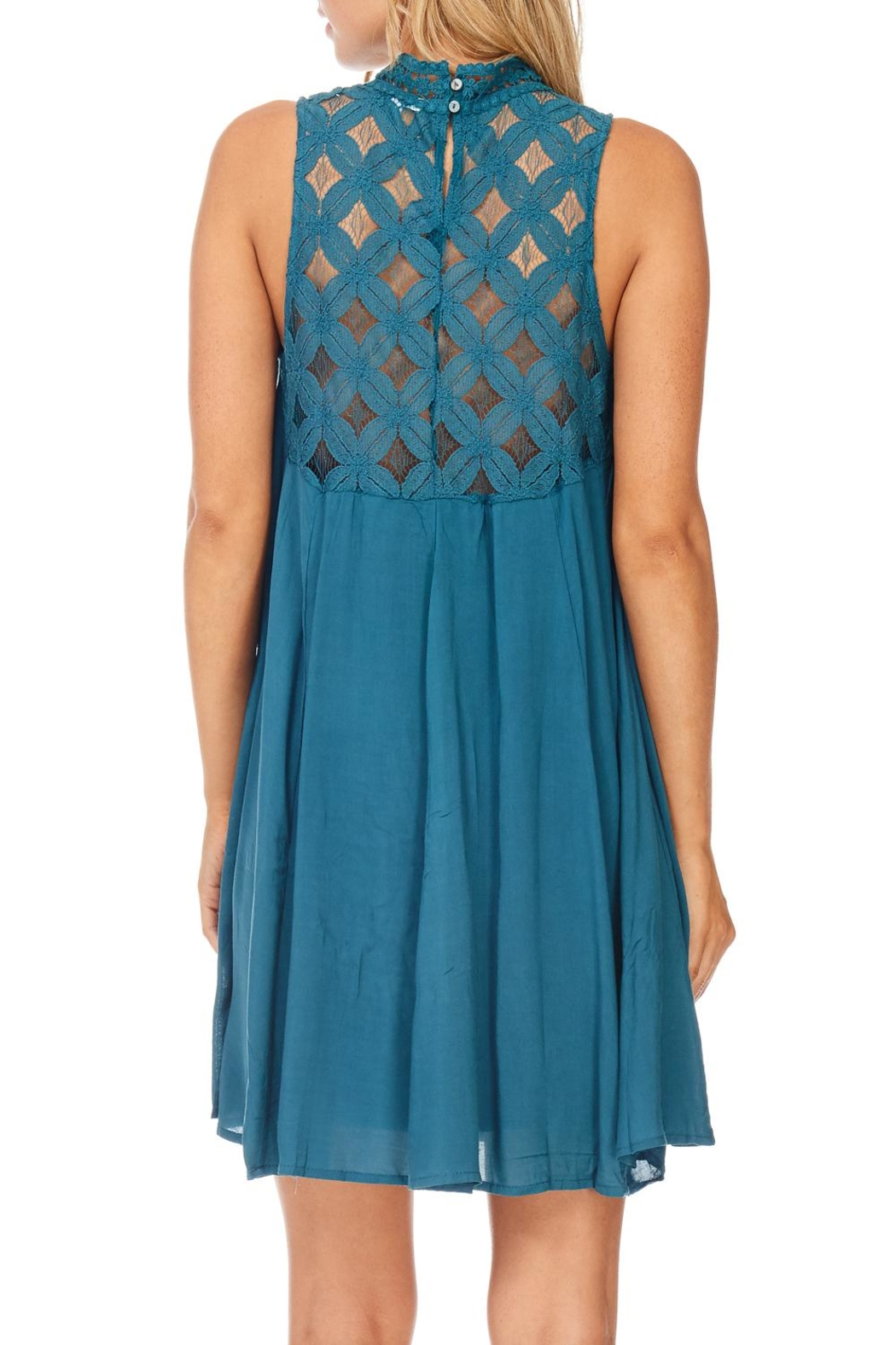 She + Sky Teal Lace Dress - Back Cropped Image