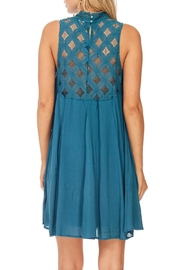 She + Sky Teal Lace Dress - Back cropped