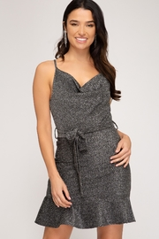 She + Sky Sparkly Cowl-Neck Dress - Front cropped