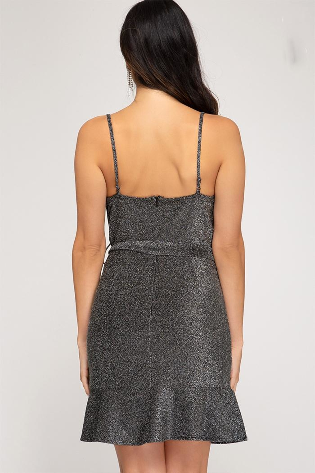 She + Sky Sparkly Cowl-Neck Dress - Front Full Image