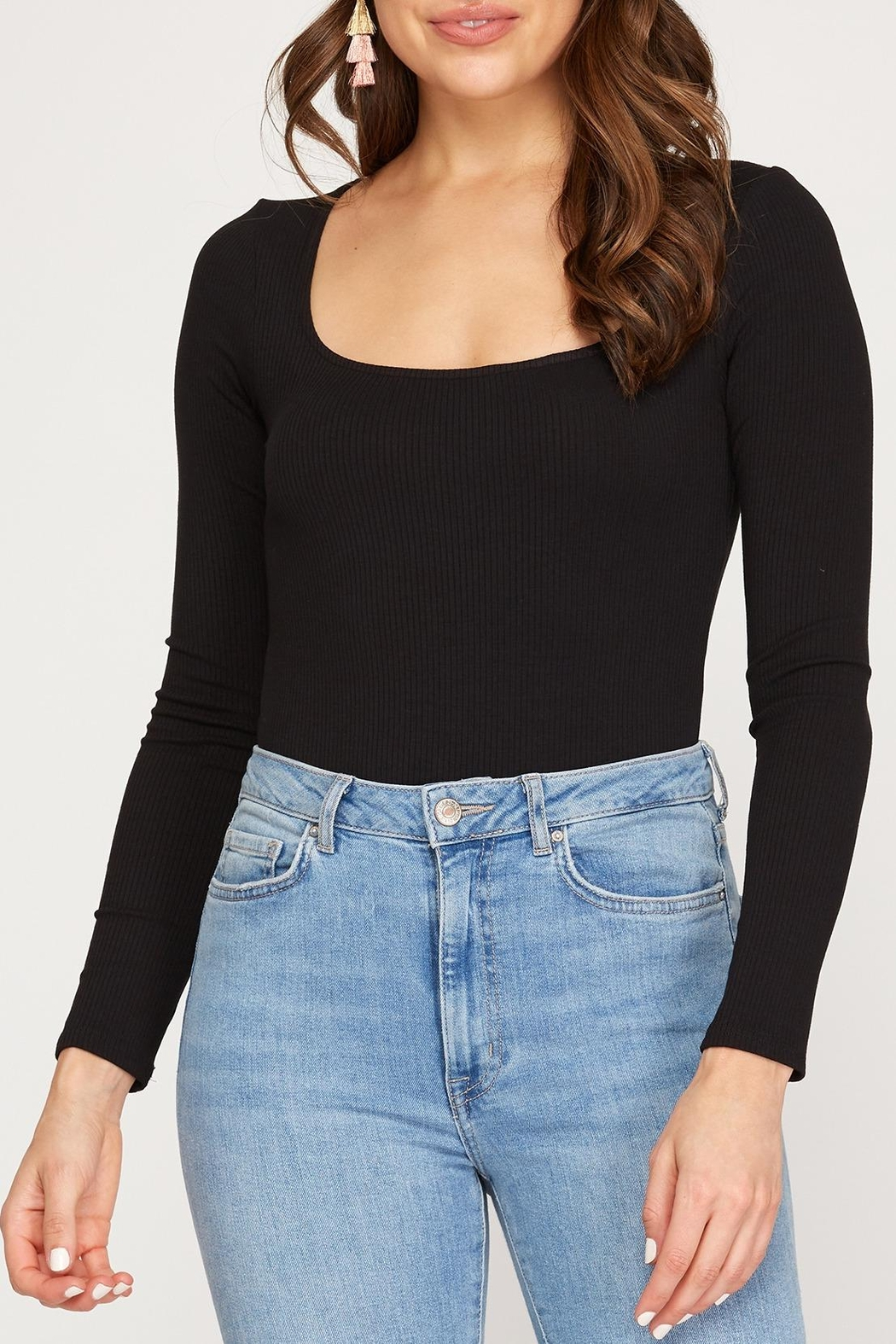 She + Sky Square Neck Bodysuit - Front Cropped Image