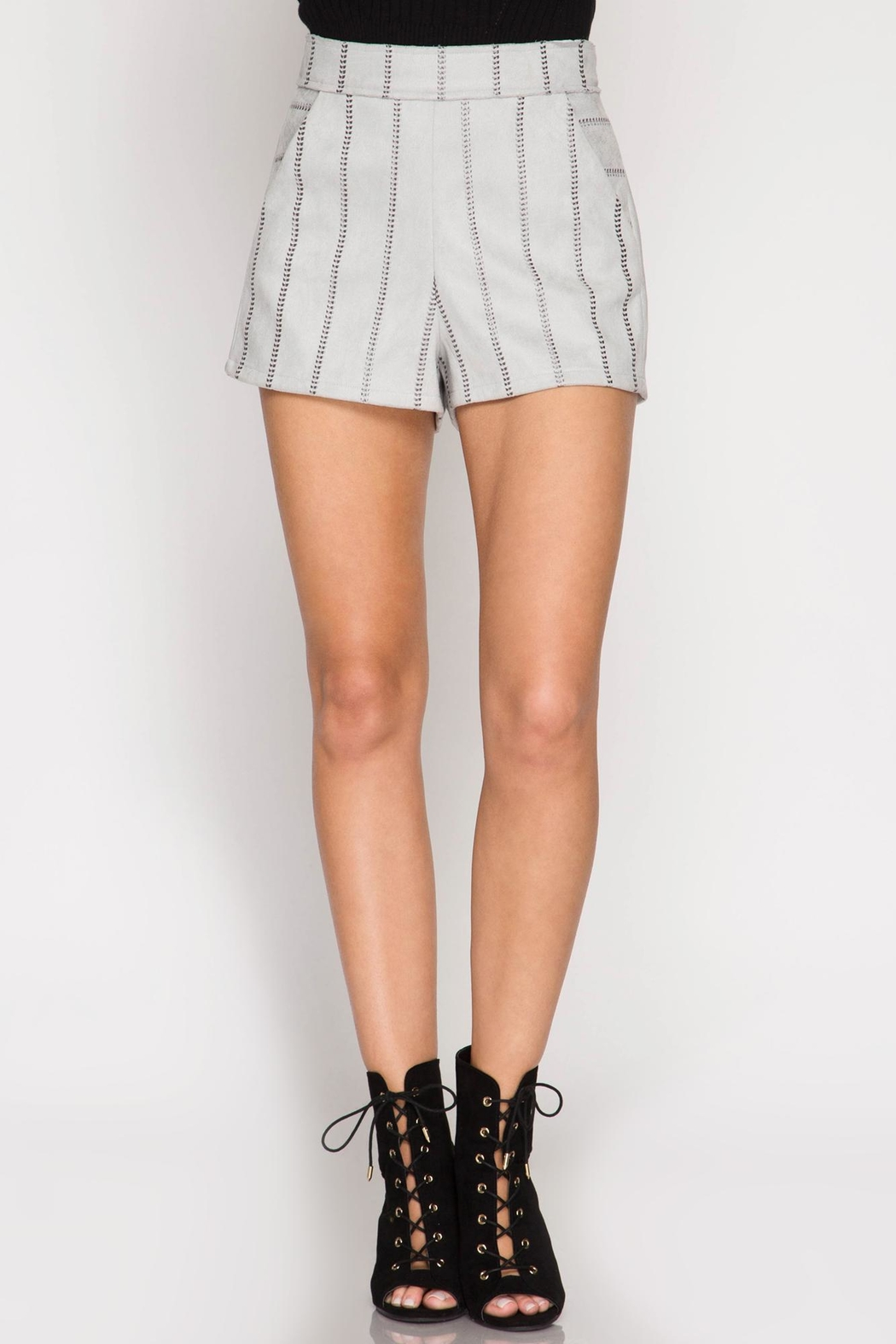 She + Sky Stitched Faux-Suede Shorts - Front Full Image