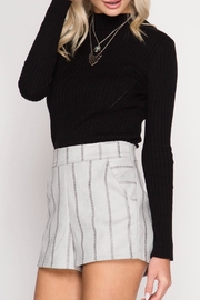 She + Sky Stitched Faux-Suede Shorts - Front cropped