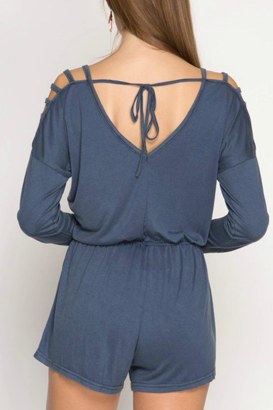 She + Sky Stone Washed Romper - Front Full Image