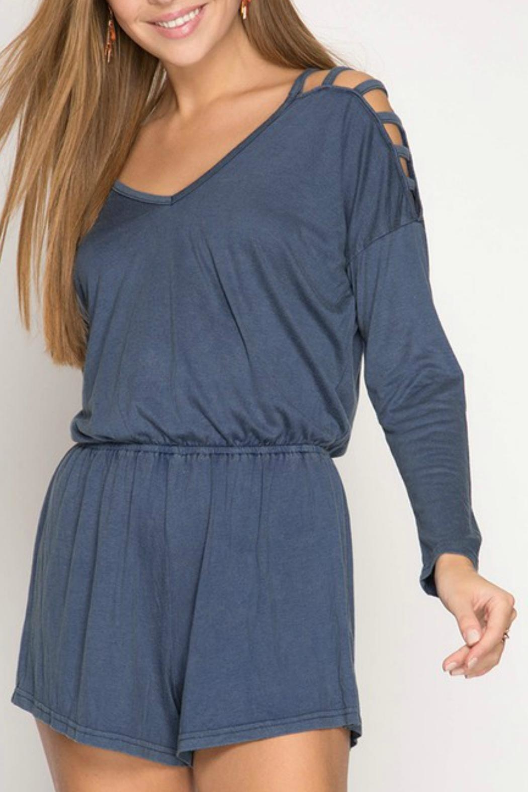 She + Sky Stone Washed Romper - Side Cropped Image