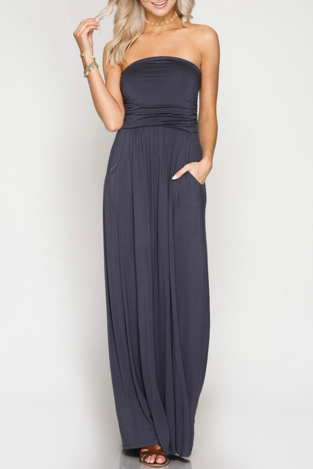 She + Sky Strapless Maxi Dress - Front Cropped Image
