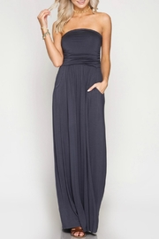 She + Sky Strapless Maxi Dress - Front cropped