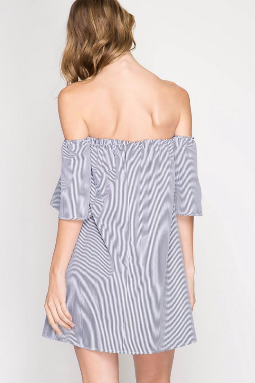 She + Sky Strapless Bow Front Dress - Front Full Image